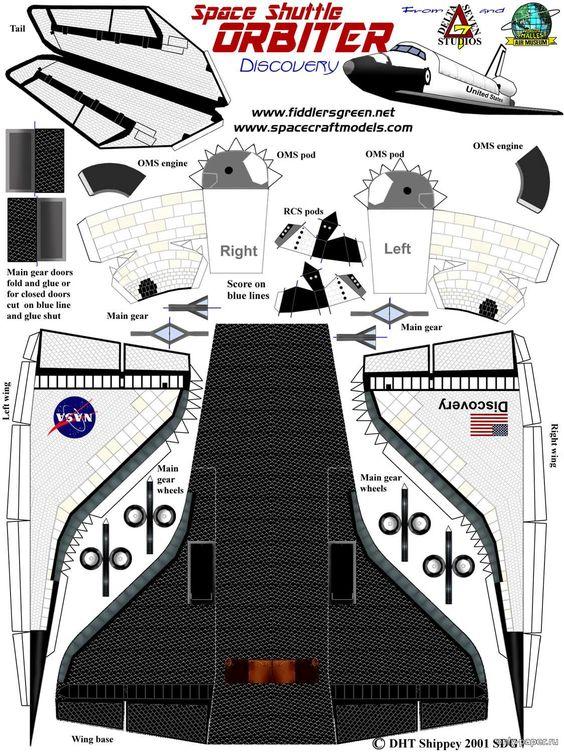 Челнок из бумаги, модели бумажные скачать бесплатно - Космос - Каталог моделей - «Только бумага»: