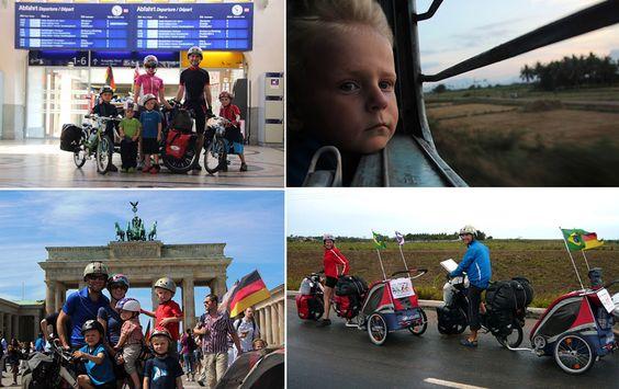 Casal faz viagem de bike ao redor do mundo com os 4 filhos bebês