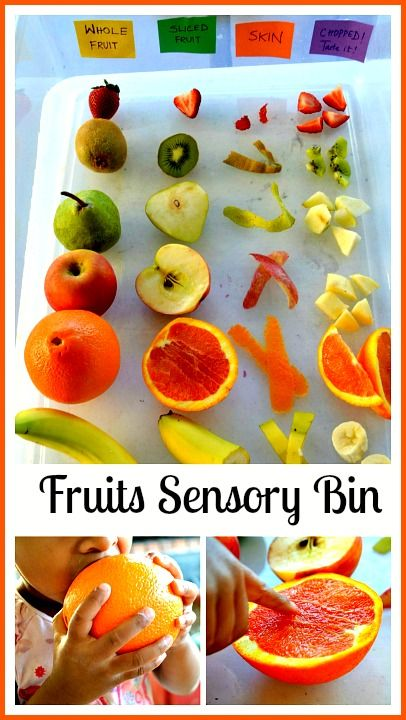 A fun sensory exploration with fruits. Whole fruit vs sliced fruit. We explored skins, seeds, taste and did the blindfold touch/taste test. An easy to create fruits sensory bin