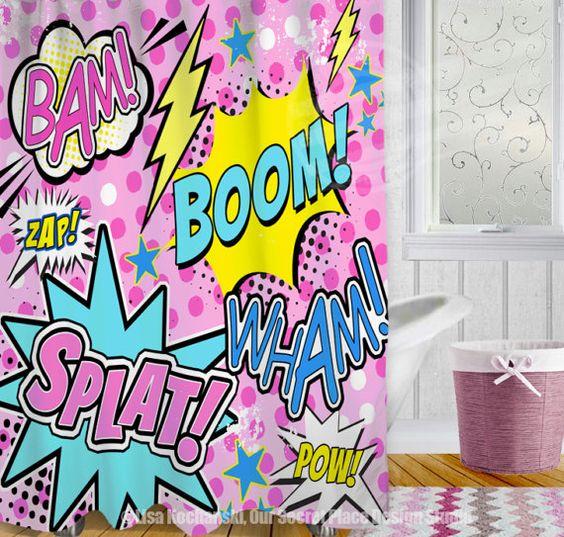Curtains Ideas comic shower curtain : Girl Superhero Shower Curtain Superhero Bathroom Decor Comic Book ...