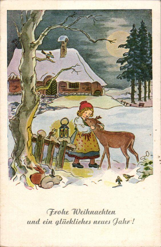 42394 Weihnachten / Neujahr - Kind mit Reh, Hasen, Winterlandschaft • EUR 4,00 - PicClick DE