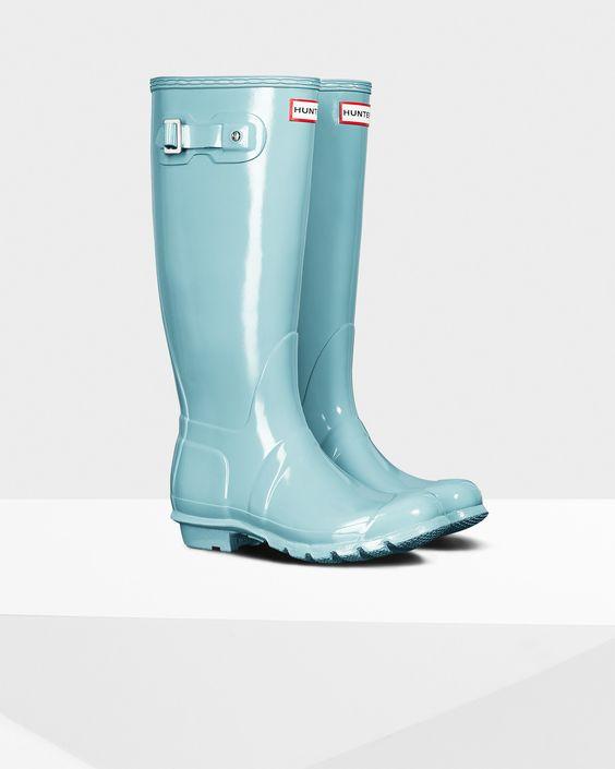 Womens Blue Tall Gloss Rain Boots | Official US Hunter Boots Store ...