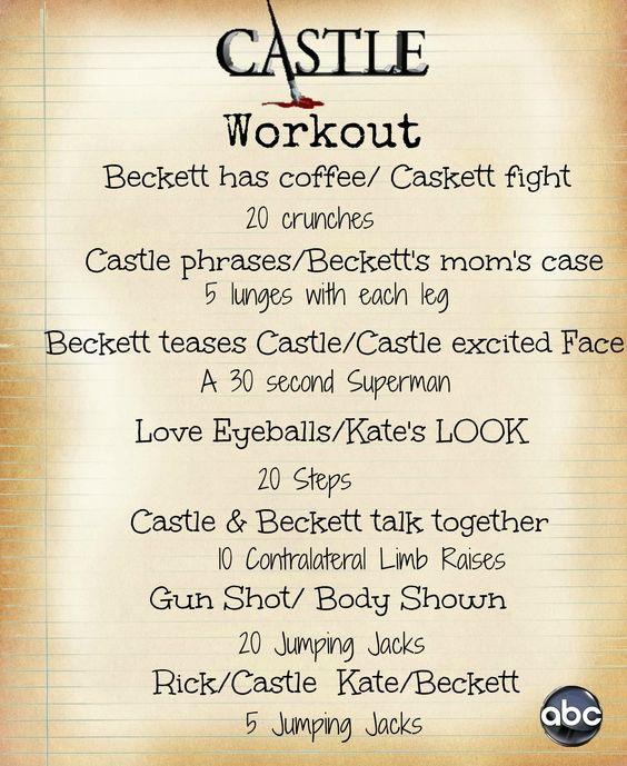 Castle workout. I feel I'd be dead after one ep of this.