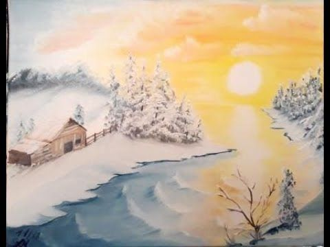 Winterlandschaft Video 1 2 Malen Fur Einsteiger In Der Nass In