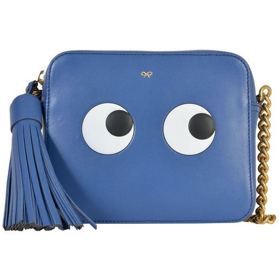 Anya Hindmarch Bags (€779) ❤ liked on Polyvore featuring bags, handbags, shoulder bags, blue, leather crossbody handbags, blue shoulder bag, shoulder strap bags, leather cross body purse and chain shoulder bag