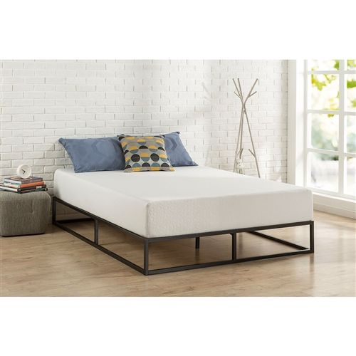 Twin Size 10 Inch Low Profile Modern Metal Platform Bed Frame With Wooden Slats Fastfurnishings Com Metal Platform Bed Full Bed Frame Platform Bed Frame