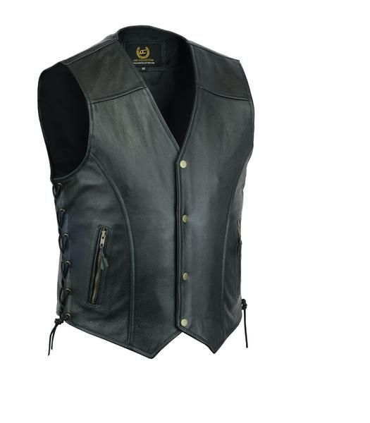 BRAIDED SIDES LACES VEST NEW MENS REAL LEATHER BIKER WAISTCOAT FISH HOOK BUCKLE