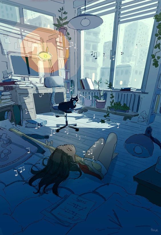 pasccal campion art aesthetic room art bedroom decor ideas - cat and girl playing guitar | soyvirgo.com