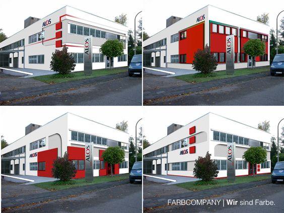 Farbentwürfe für eine gewerbliche Immobilie unter Einbeziehung des Erscheinungsbildes (Farbe und Form des Corporate Design). Visualisierung unterschiedlicher Farbkonzepte für eine Wohnhaus in Hannover.