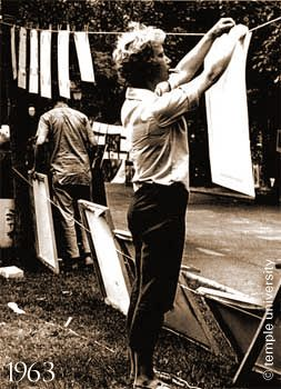 """Circa 1963 at the """"Clothesline show"""" now known as the Rittenhouse Square Fine Art show in philadelphia"""