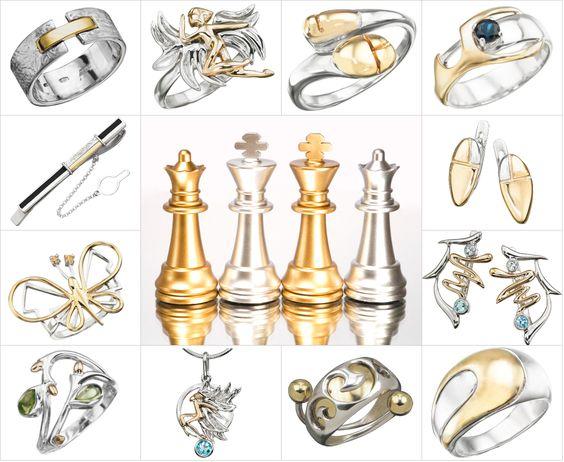 Серебро, золото, шахматы, Totemi, украшения.