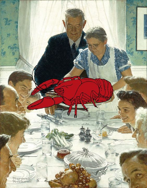 A traditional thanksgiving dinner lobster it 39 s what 39 s for Traditional southern thanksgiving dinner menu