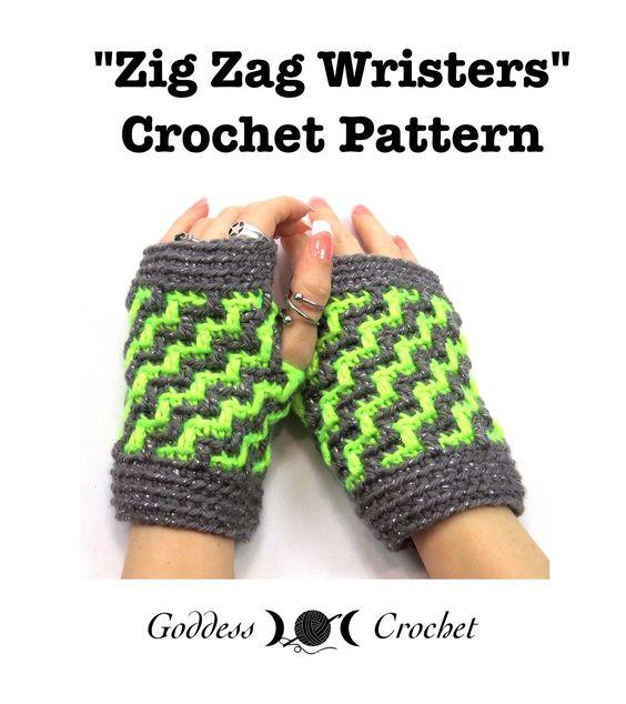 Free Crochet Zig Zag Hat Pattern : Zig Zag Wristers - Fingerless Gloves Crochet Pattern The ...