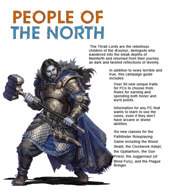 A Jötunfolk berserker - his skin blue and his hair black - stands ready for battle, holding a large, steel war maul.