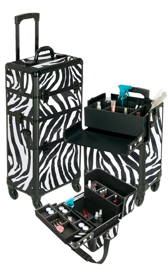 Pro Aluminum Makeup Case Zebra 4 Wheeled Spinner, only $169.95 plus free shipping! #makeup: