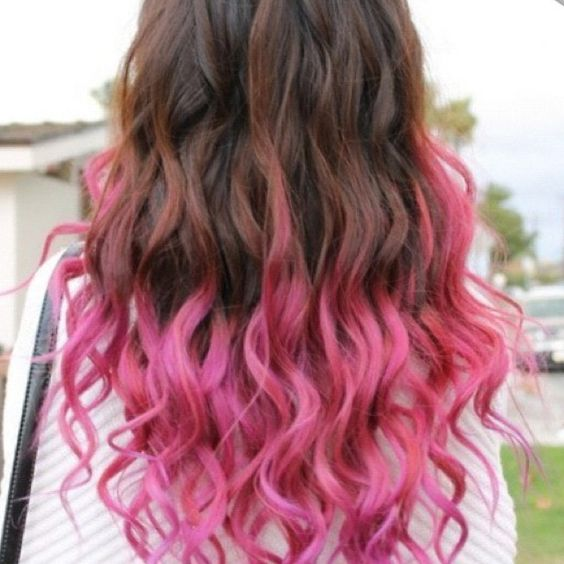 Highlighted Tips Of Hair Pink Highlights For Brown Hair