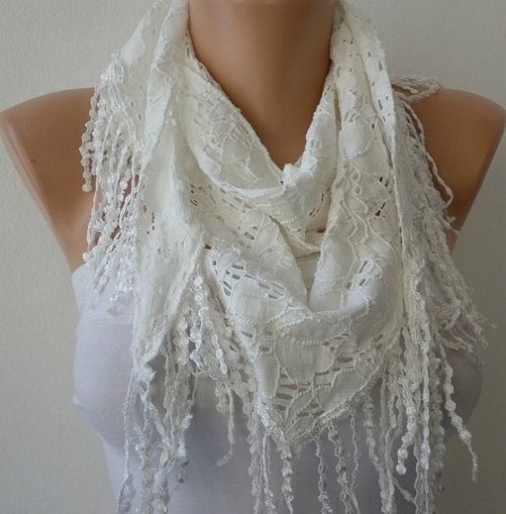 White Scarf    Headband Necklace Cowl with Lace Edge  by fatwoman, $18.00