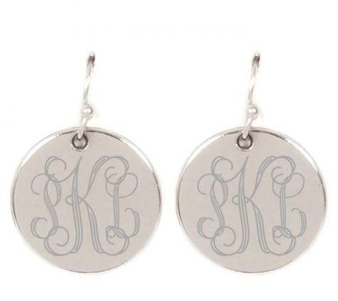 Disc Earrings To Monogram Monogrammed Earrings Vinyl Monogram Jewelry Monogram Earrings
