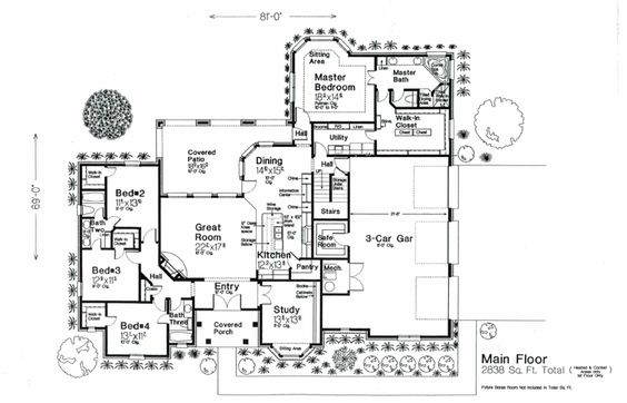 2838 Sq Ft House Plan 92233 Swap Mech Room Safe Room