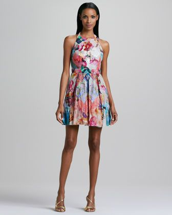 Floral-Print Halter Cocktail Dress by Nicole Miller at Neiman Marcus.