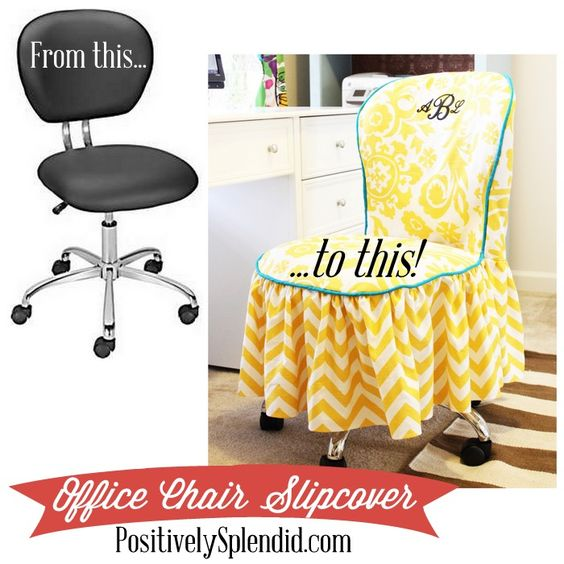 Clever! No one likes spilled milk, but NO ONE likes the smell of day-old spilled milk. Cue a washable slip-cover for #mypumpingspace   Office Chair Slipcover Tutorial   PositivelySplendid.com