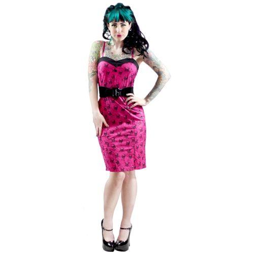 Sourpuss Want Yer Skull Slit Dress Pink