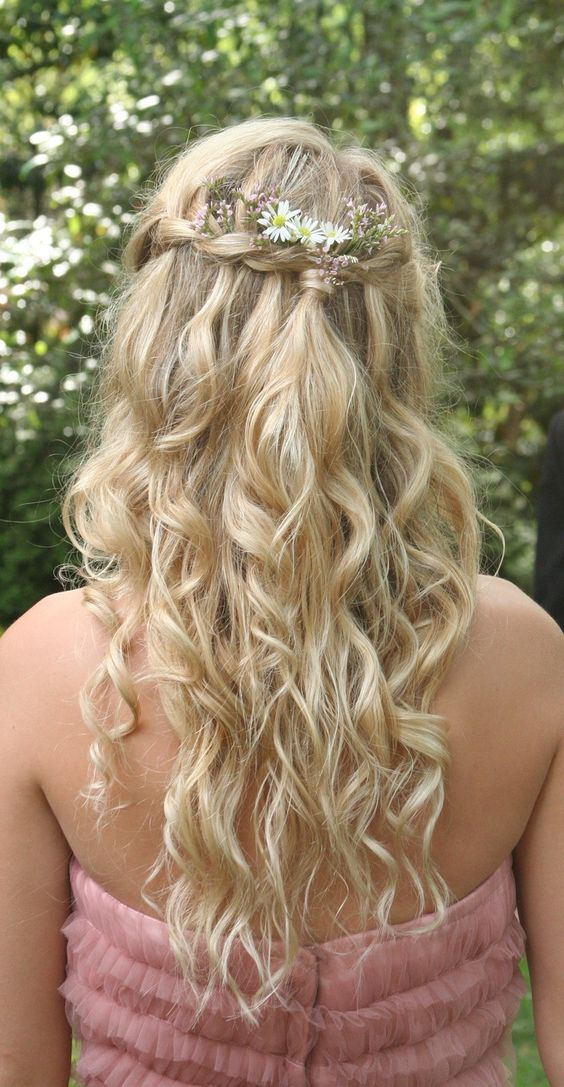 Hairstyles For Prom With Flowers : Bohemian princess hair braided crown gathered in the