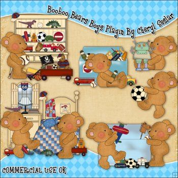 Booboo Bears Boys Playin ClipArt Graphic Collection  £5.99  Sale: £0.61  Save: 90% off