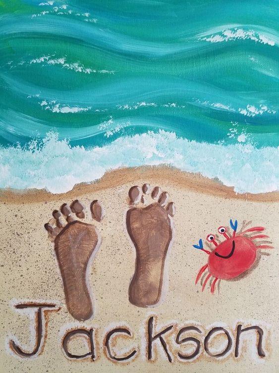 voetjes in het zand knutselen