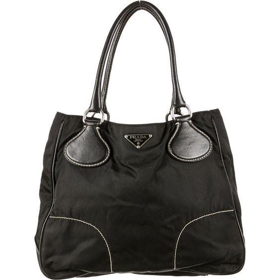 Pre-owned Prada Tessuto Shoulder Bag ($225) ❤ liked on Polyvore featuring bags, handbags, shoulder bags, black, pre owned purses, prada, black woven handbag, woven handbag and black purse