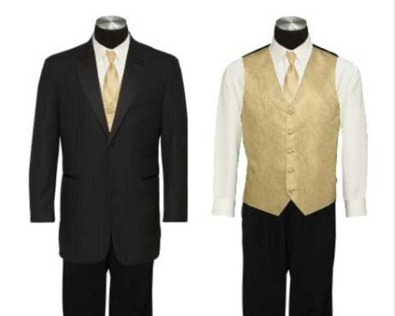 Groom and groomsmen gold tie black suit gold vest | For Our