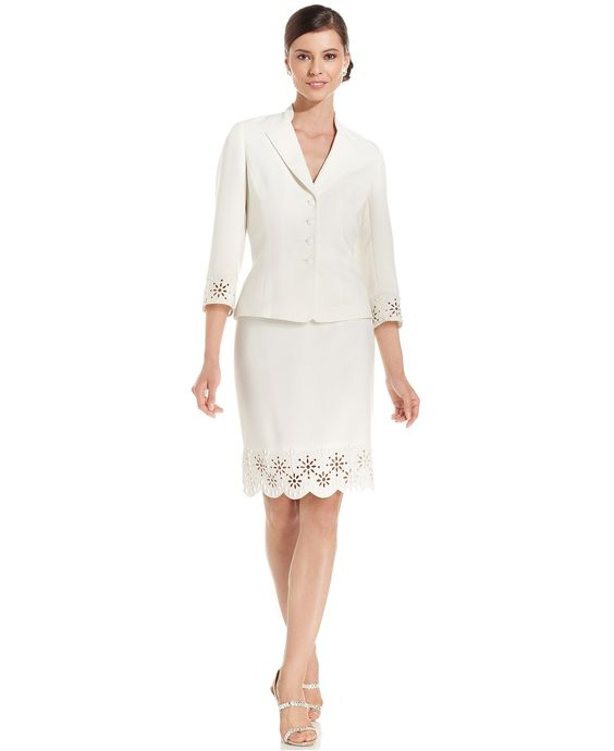 Tahari by ASL Suit, Laser-Cut Beaded Jacket & Skirt - Suits & Suit Separates - Women - Macy's