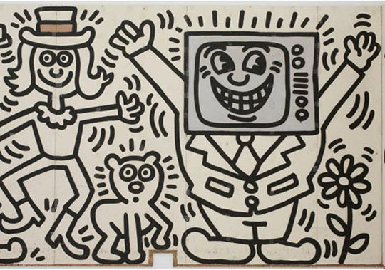 Keith Haring, Haring Mural, Television, 1985, Art