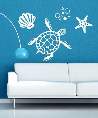 Decordesigns White Sea Turtle Wall Decal Set Nautical