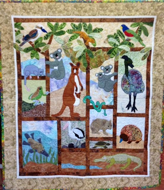 Quilt a koala australian animals and birds in patchwork quilt