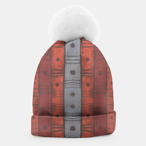 Stripes and dots Beanie #pattern, #gray, #terracotta, #brick, #sepia, #orange, #stripes, #dots, #handdrawn, #earthshades, #tribal, #pastel, #abstract, #texture, #striped, #earthtones, #grey, #natural, #ochre, #stripes, #earth, #clay, #softpastels, #pastels, #70s, #textile, #colors, #colours, #shades, #beanie