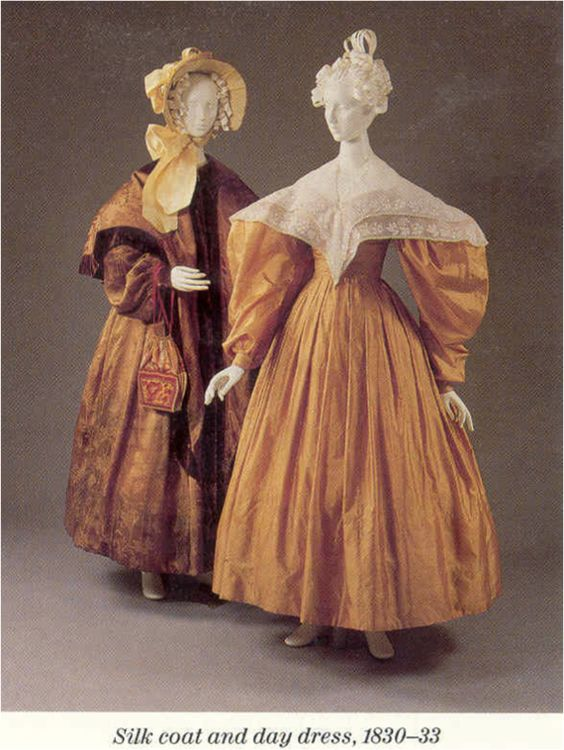 1830 dress | 1830-33, pelisse and dress, amber/apricot/citron, white embroidered ...: