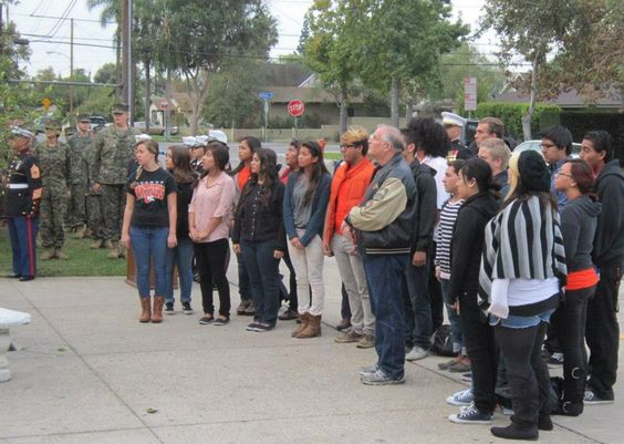 Orange High School student body at ceremony.