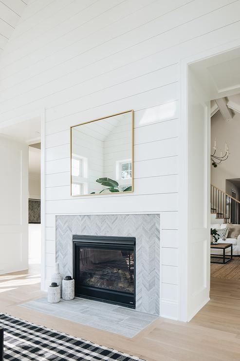 Cottage Living Room Designed With A Shiplap Fireplace Wall Tiled With A Gray Chevron Trim Cottage Living Rooms Fireplace Remodel Farm House Living Room