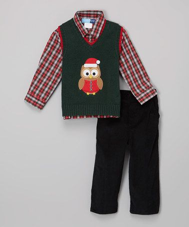 Loving this Green & Red Plaid Owl Sweater Vest Set - Infant on #zulily! #zulilyfinds