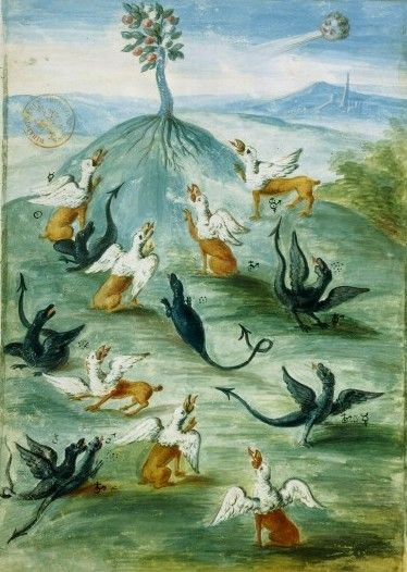 """Nicolas Flamel, """"Planetary Dragons on a Hill,"""" The Figures of Abraham the Jew, 14th century"""