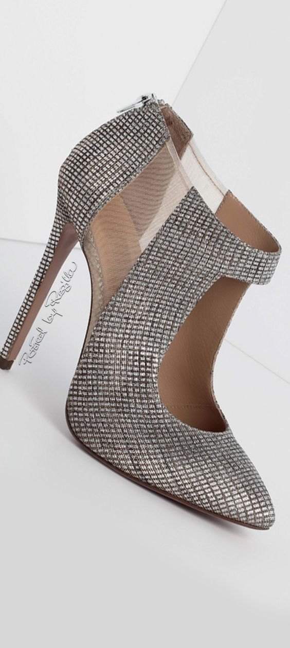 Georges Hobeika ~ Silver Shootie with Nude Mesh Insert 2015-16