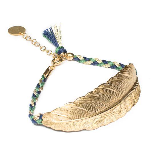 Le bracelet Plume en bleu et vert de la marque française bijoux - Apache