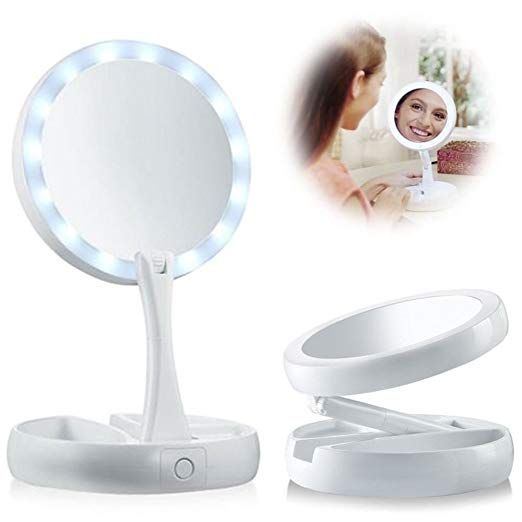 Piggiesc Double Sided Led Lighted Foldable Vanity 1x 10x Magnifying Makeup Mirror Review Cosmetic Mirror Makeup Mirror Travel Makeup Mirror