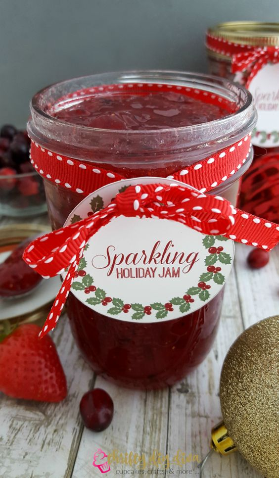 This Sparkling Strawberry and Cranberry Holiday Jam canning recipe is ...