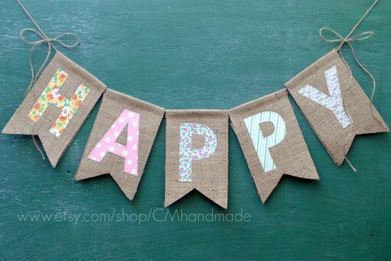 HAPPY burlap banner por CMhandmade en Etsy