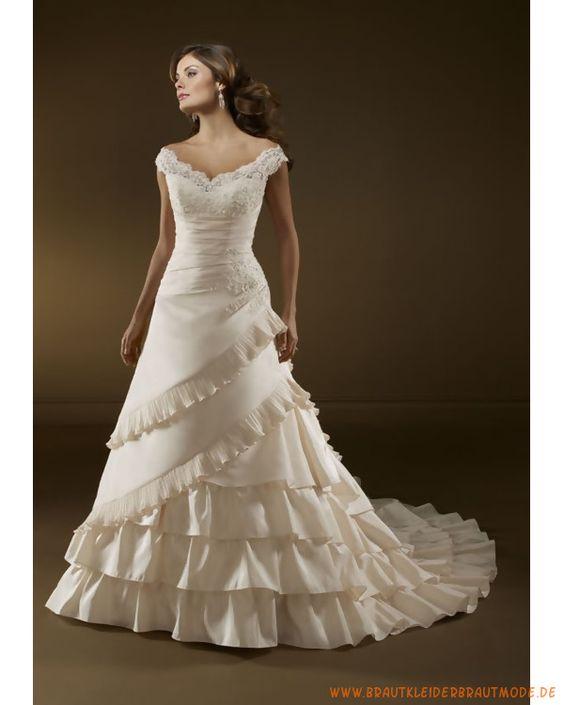 Luxuriöse Brautmode aus Taft Brautkleid mit Ärmel Schulterfrei und V-Ausschnitt mit Applikationen zu verzieren Rock mit langer vielschichtiger Schleppe