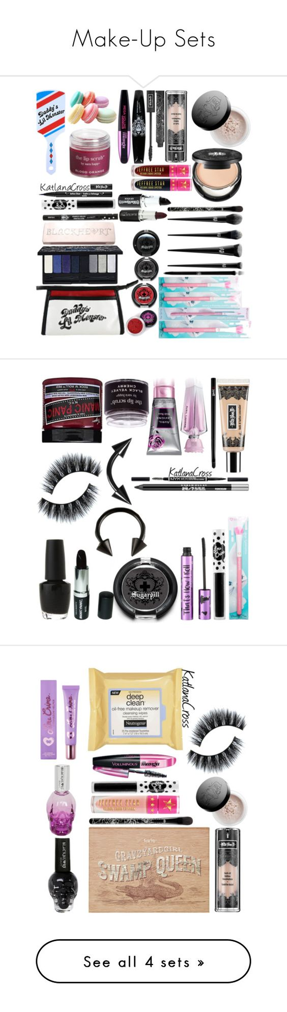 """Make-Up Sets"" by katlanacross ❤ liked on Polyvore featuring beauty, Sugarpill, Kat Von D, Lime Crime, L'Oréal Paris, Jeffree Star, Voom, Sara Happ, Barry M and OPI"