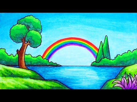 How To Draw Easy Scenery Drawing Rainbow Over The Lake Scenery