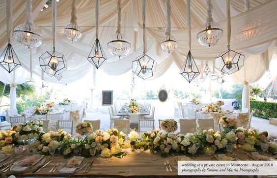 These hanging lamps are a fantastic touch to this already brilliant tablescape!